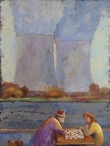 AU BORD DU CANAL Acrylique sur toile, 60x80 cm