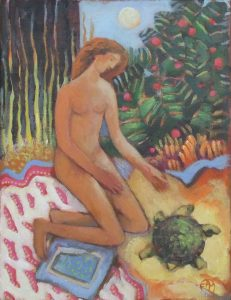 JEUNE FILLE A LA TORTUE Acrylique sur toile, 27 x 33 cm