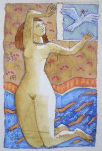 MESSAGER Encre sur papier, 10x15 cm