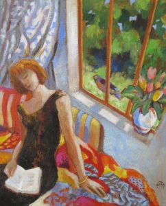 OISEAU CURIEUX Acrylique sur toile, 38x46 cm